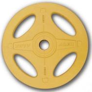 Олимпийский обрезиненный диск Alex, 4 отверстия, 15 кг желтый, фото 1
