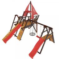 Детский спортивно-игровой комплекс - САМСОН КАРАВЕЛЛА, канатная сетка, скалодром, качели гнездо, 2 горки, фото 1