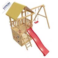 Детский деревянный городок - САМСОН 6-ОЙ ЭЛЕМЕНТ, горка, качели, скалодром, песочница, фото 1