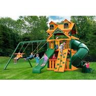 Детская укомплектованная игровая площадка - PLAYNATION АЛЬПИНИСТ РИВЬЕРА КЛАБХАУЗ, 2 горки, 3 качели, башня с крышей и окнами, фото 1